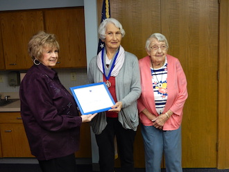Carla Smith presented Gloria Mohr Fast with the National Society Daughters of 1812 Spirit Award.  (Photo submitted.)