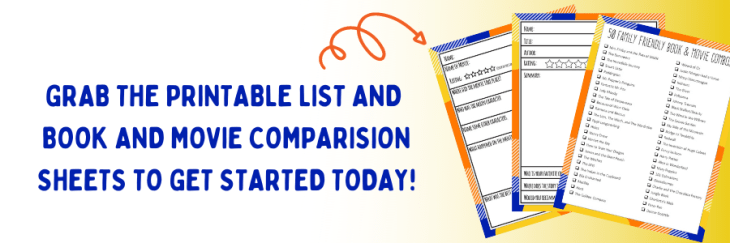 Free Book and Movie List and Comparision Worksheets