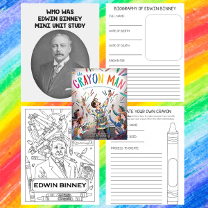 """Edwin Binney was an American entrepreneur and inventor, who created the first dustless white chalk, and along with his cousin C. Harold Smith, was the founder of handicrafts company """"Binney and Smith"""", which marketed his invention of the Crayola crayon. Learn more about him and his invention of the crayon with this unit study is appropriate for ALLages."""