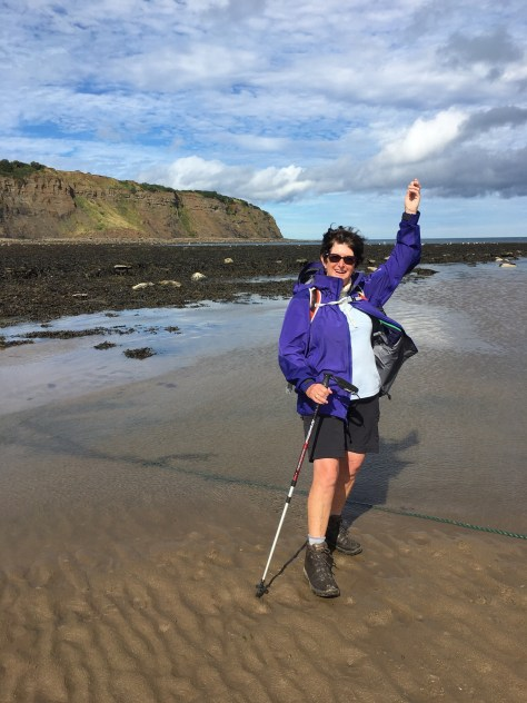Throwing my pebble in the North Sea that I have carried from St Bees