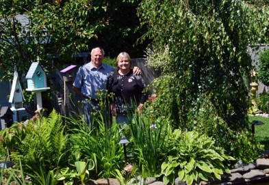 Lynda and Henry Bobinski in their Crossbow Street garden.
