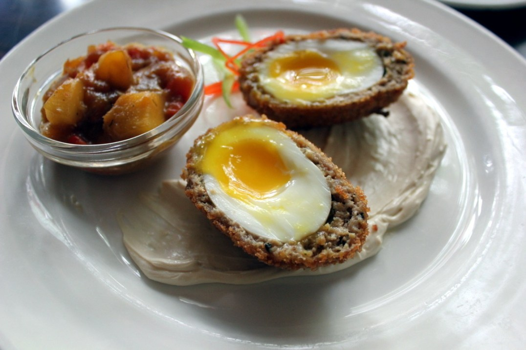 MacGregor's Chef Frank Wright's Celtic Scotch egg with ground pork sausage served with a Baileys-infused cream cheese and mango chutney.