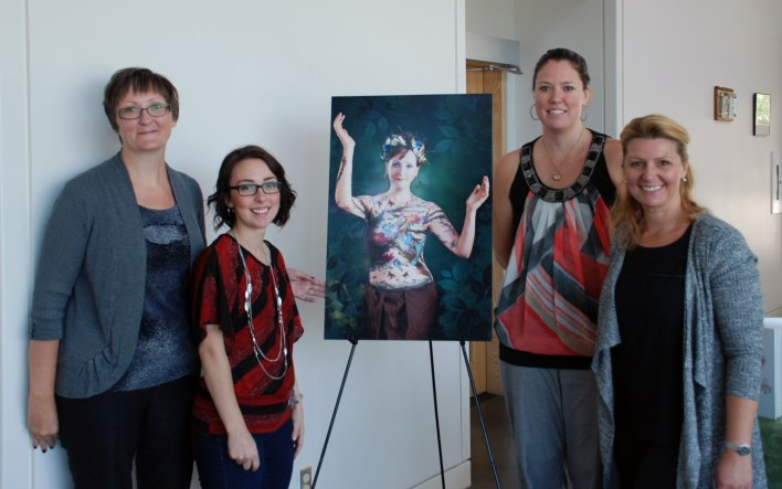 Proudly showcasing one of the images that will be available to view at The Butterfly Story Gala on Friday, September 25 are (l-r) Shannon Bolton (Thunder Bay Breast Cancer Support Group), Chantal Hughes Ouellette (Makeup Artist), Michelle Blackburn (The Butterfly Story Gala Committee Member) & Isabela Pioro (Photographer). Image displayed is of Shannon.