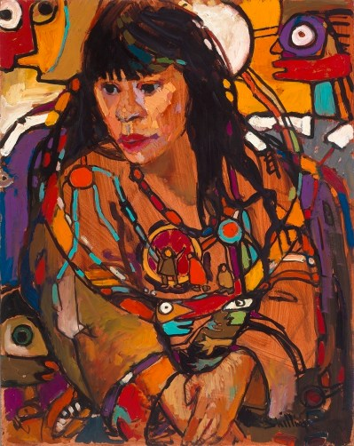 Ojibway Dreams (Suzanne), 1984, oil on board, 88.9 x 71.1cm