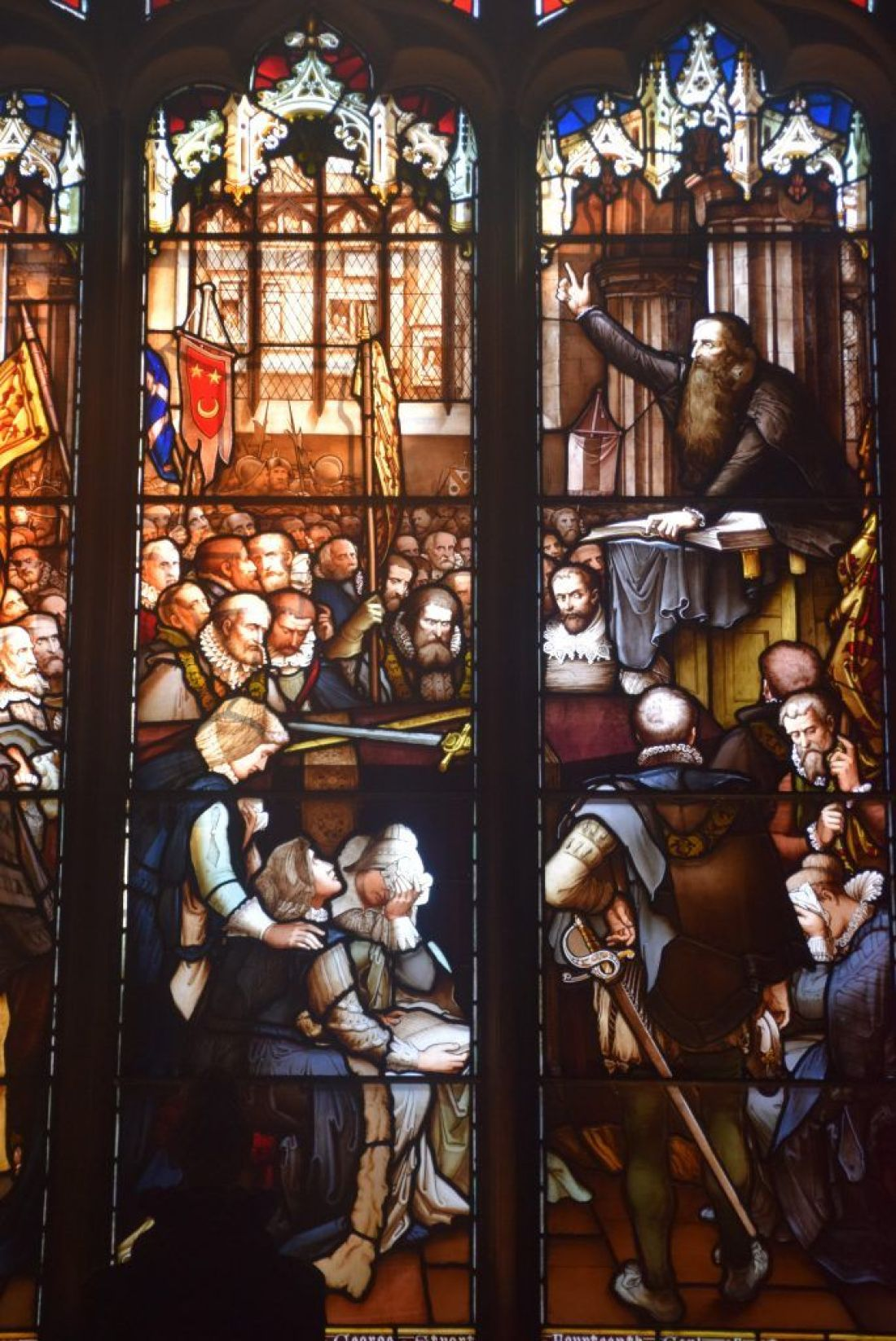 John Knox window, St Giles' Cathedral, Edinburgh, Scotland. It shows Knox delivering the funeral sermon of Regent Moray, who was assassinated by a supporter of Mary Queen of Scots.