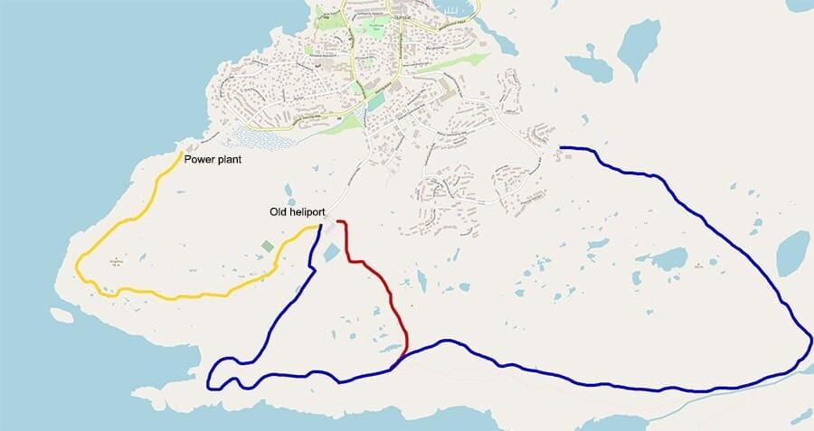 Map of Ilulissat, Greenland hiking trails