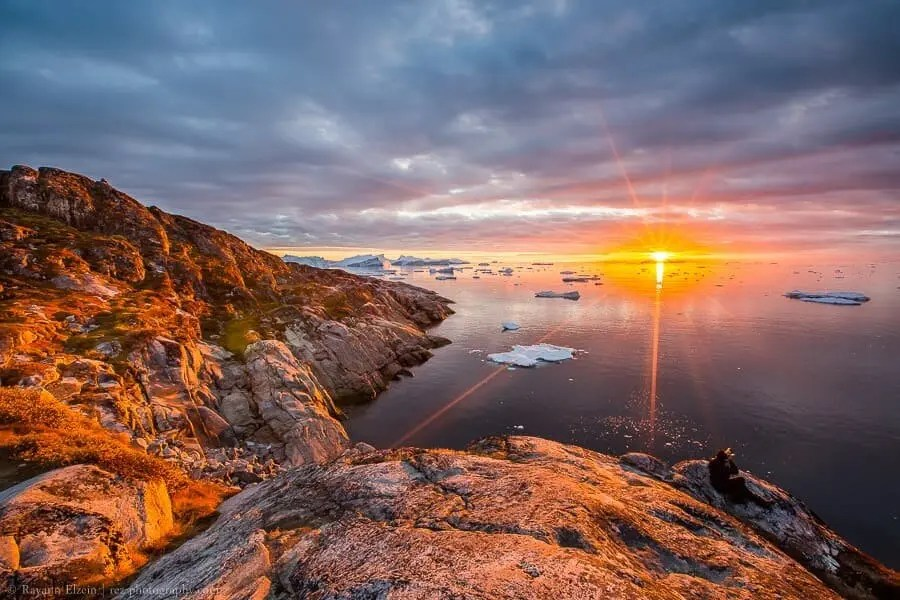 Sunset at the Unesco Ilulissat Icefjord in Greenland
