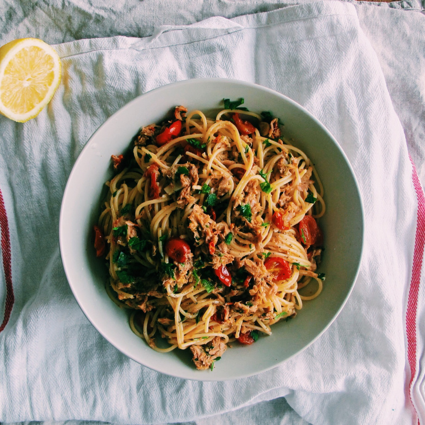 Chilli Tuna Spaghetti With Roasted Cherry Tomatoes