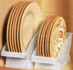 Save space in your RV cabinets with dish cradles.