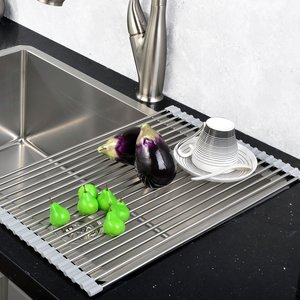 RV kitchen space solution: roll up sink rack