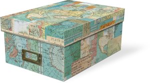 World map shoe box