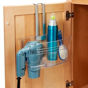 Store your hairdryer under the bathroom sink with this hanging caddy!