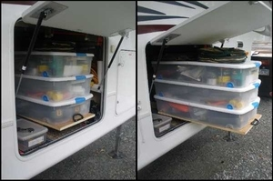 RV Space-saving slide out in basement storage