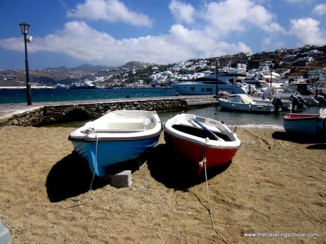 Boats on the beach in Mykonos