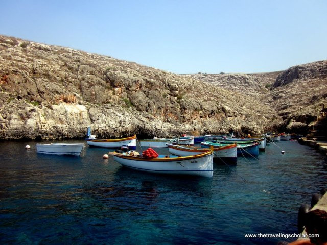 Boats near the Blue Grotto