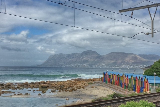 Bathing Boxes of Muizenberg on our drive to the Cape of Good Hope