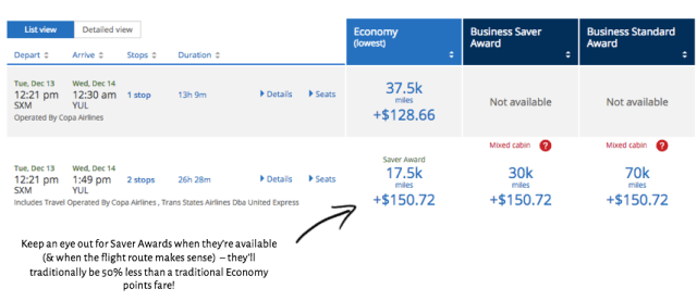 United Airlines/COPA Points Booking