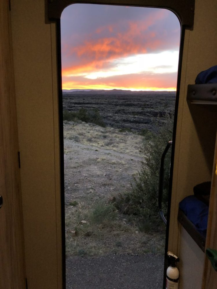 View from our campsite of the Malpais Lava Flow at sunset
