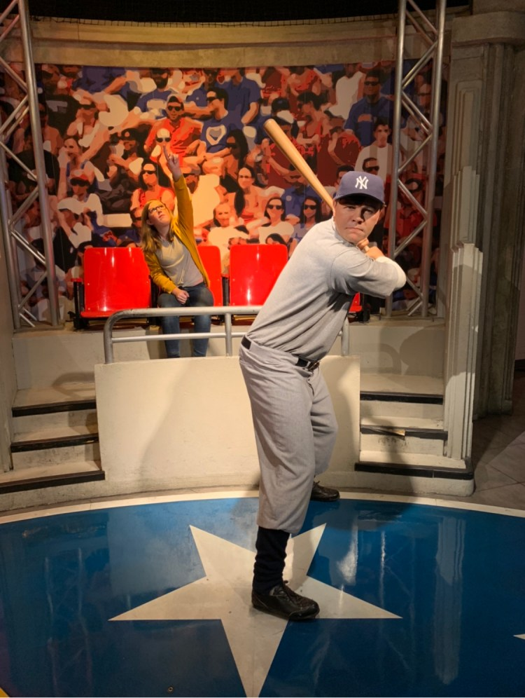 Girl with wax figure Babe Ruth