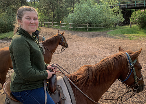 Emilie and Baker at Palmer Gulch Stables