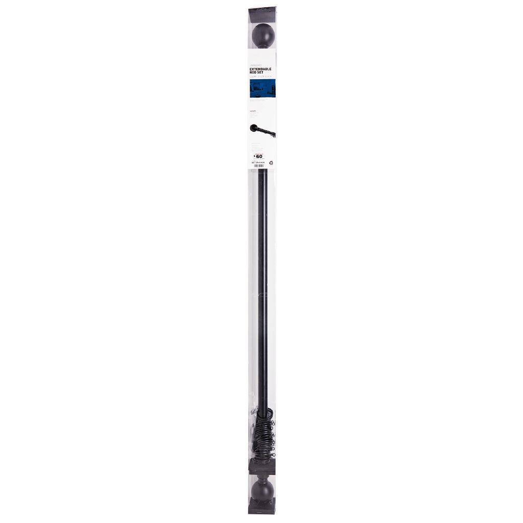 living co extendable curtain rod black 120 210cm
