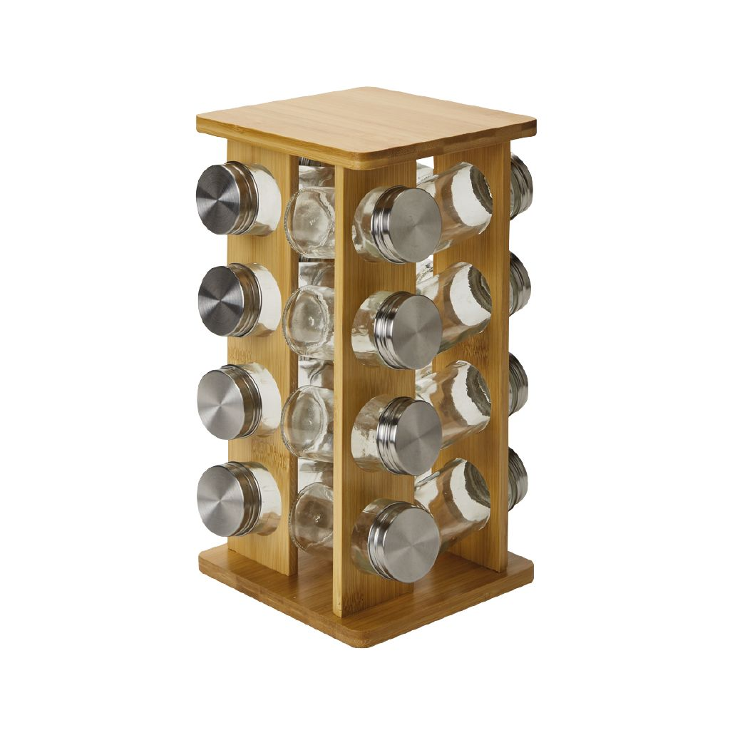 living co bamboo spice rack 16 pack