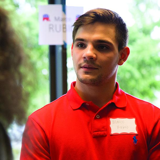 Frank Mueller acting as Marco Rubio