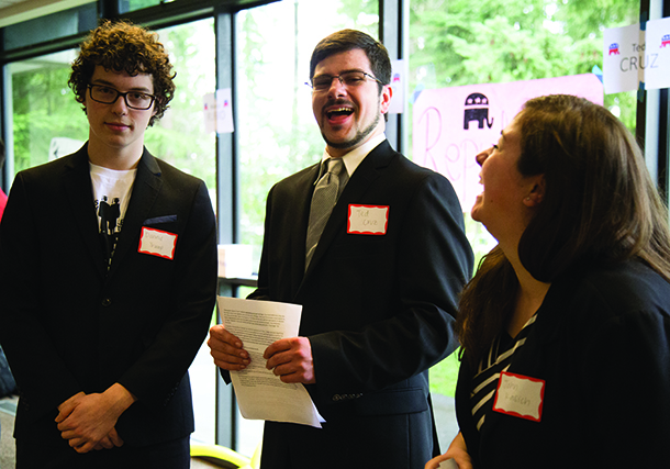 Left to right: Students representing Republican candidates Donald Trump, Ted Cruz and John Kasich