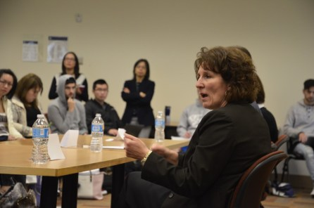 Christie Landstrand giving advice on resumes. Alyssa Brown / The Watchdog
