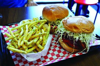 Baja burger and katsu curry burger with nori fries. Photo by Alyssa Brown / The Watchdog