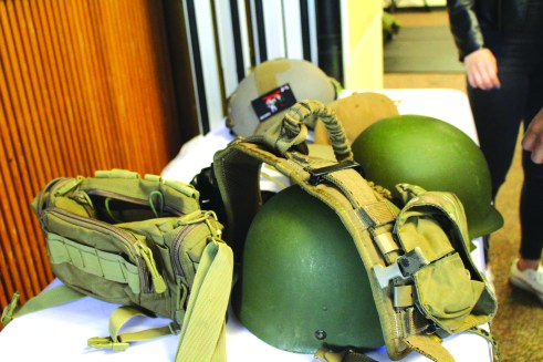 Military gear on display.