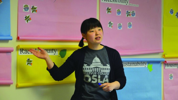 Hyemin Son addresses the students.