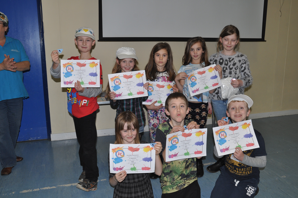 JC4Kidz - the children show off their badges and certificates