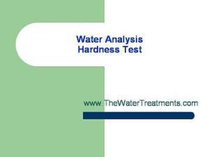 Water Analysis-hardness