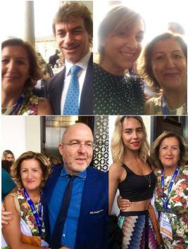 Dall'alto in senso orario, Cinzia Alibrandi con Alberto Angela, Daria Bignardi, Massimo Gramellini e Melissa Greta Marchetto.