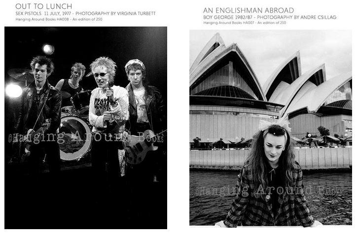 Punk e Post Punk nelle edizioni di HangingAroundBooks. Questi sono due volumi già usciti su Sex Pistols e Boy George.