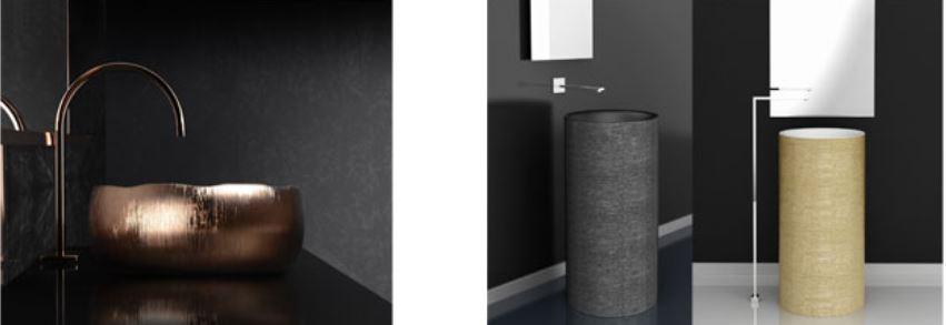 Da sinistra Mode Luxe e Tommy Metropole. MODE LUX è un lavabo da appoggio in ceramica di forma circolare interamente realizzato a mano e decorato esternamente in quattro diverse finiture: bronze, dark inox, gold e silver. TOMMY METROPOLE è il nuovo lavabo a colonna, disegnato da Studio Arius.