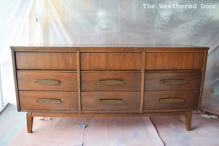 Gloss white and java mid century dresser before WD-2