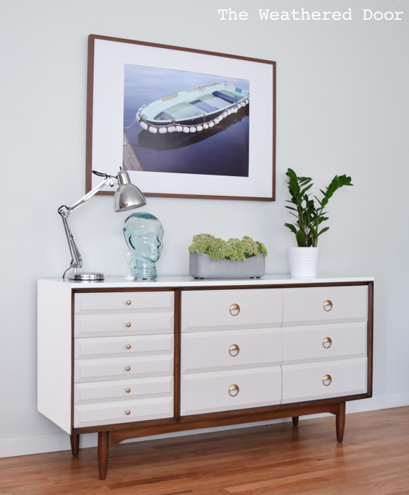 LA Period Mid Century Dresser in high gloss white, gray, and dark walnut stain | from theweathereddoor.com