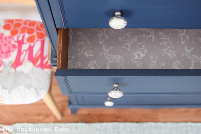 Navy Stacked Hepplewhite Dresser Makeover | from theweathereddoor.com
