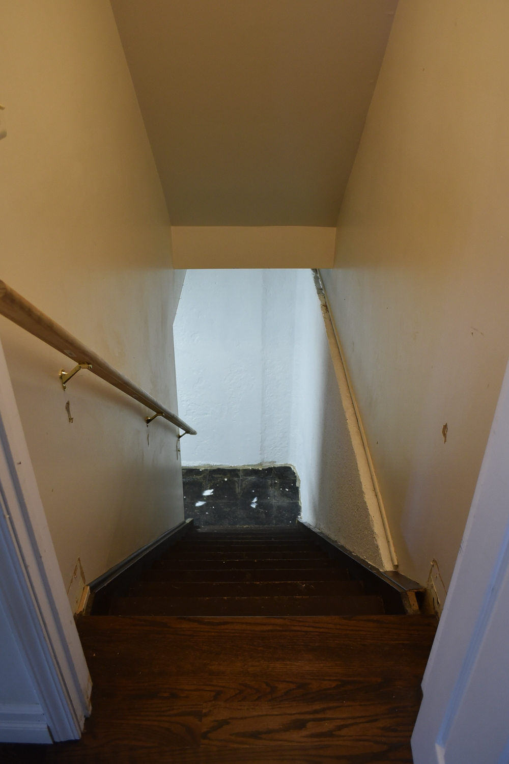 How To Paint Basement Stairs The Weathered Fox | Stairs Leading To Basement | Beautiful | Painted | Unfinished Basement | Metal | Basement Peaked Roof