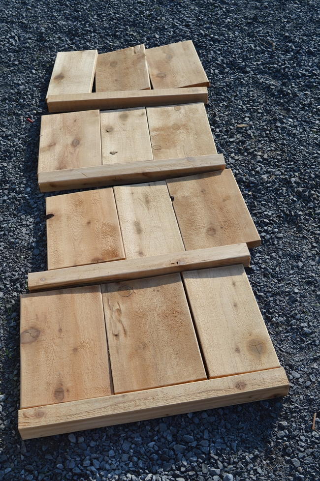 cut pieces for a cedar planter
