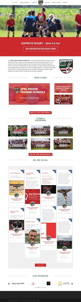 Ottawa Ospreys Rugby Football Club website screenshot