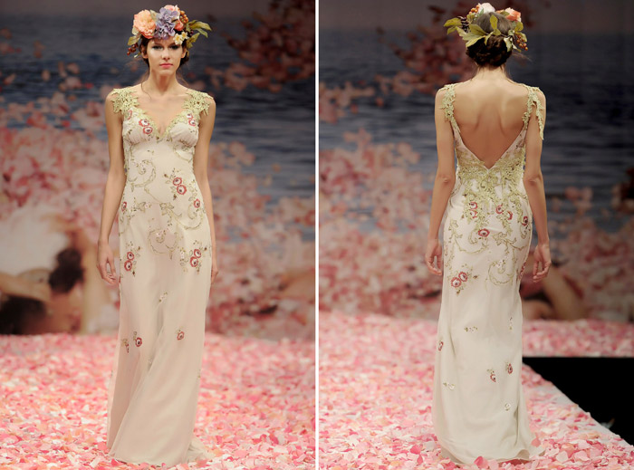 Claire Pettibone 2013 Fall Collection – Olivia. Red rose and olive embroidery lined in stone linen with guipure vine shoulders and back. www.theweddingnotebook.com
