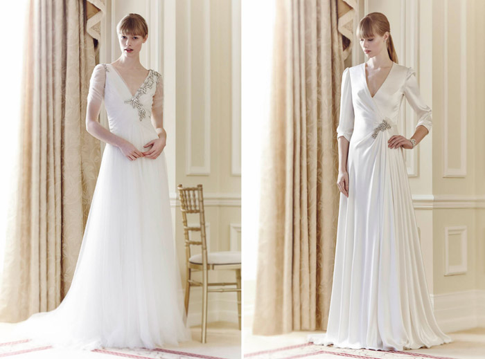 Left: Amour, Right: Ingrid – Jenny Packham Spring 2014 Collection. www.theweddingnotebook.com