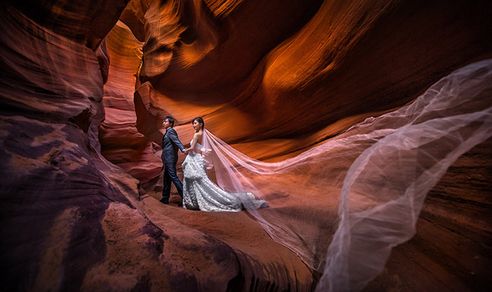 Mind Blowing Traditional Wedding Dresses Around The World: Mind-blowing Bridal Portraits At Antelope Canyon, Arizona
