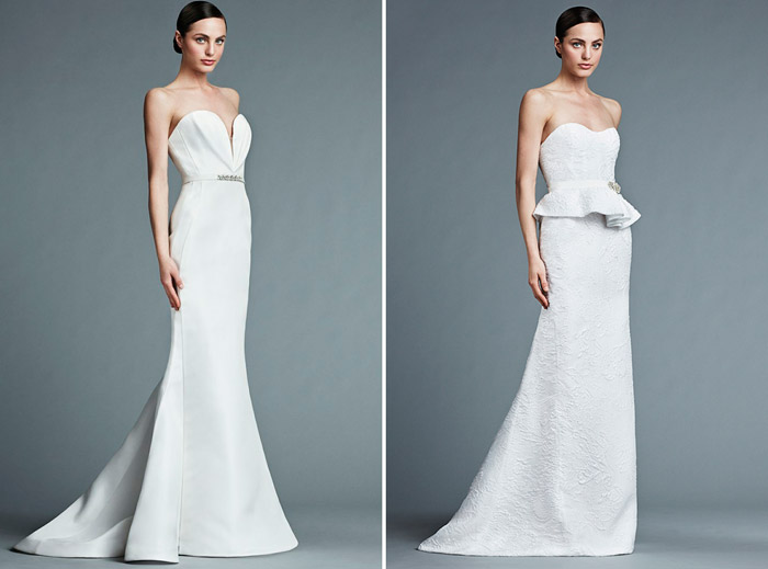 Left: Valentine; Right: Reinette – J. Mendel Bridal 2015 Collection. www.theweddingnotebook.com
