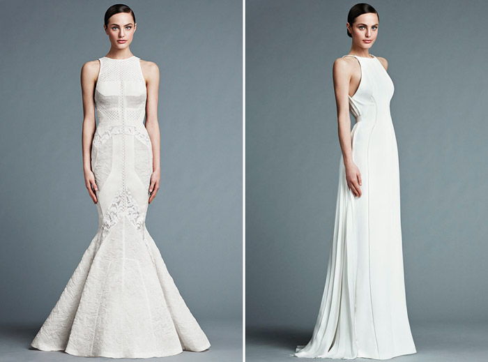 Left: Catherine; Right: Francoise – J. Mendel Bridal 2015 Collection. www.theweddingnotebook.com