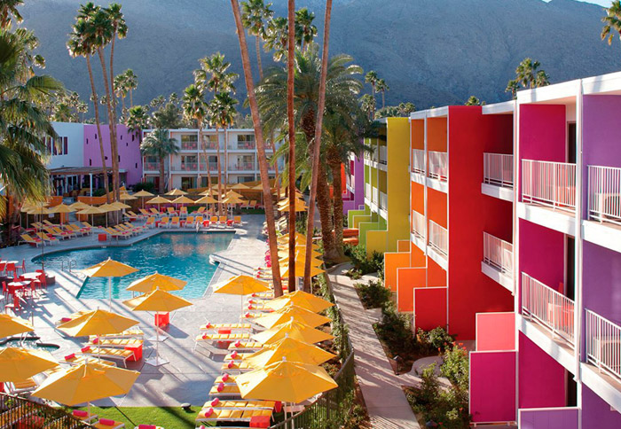 The Saguaro Palm Springs. 16 Colourful Places In The World For Your Bridal Portraits. www.theweddingnotebook.com