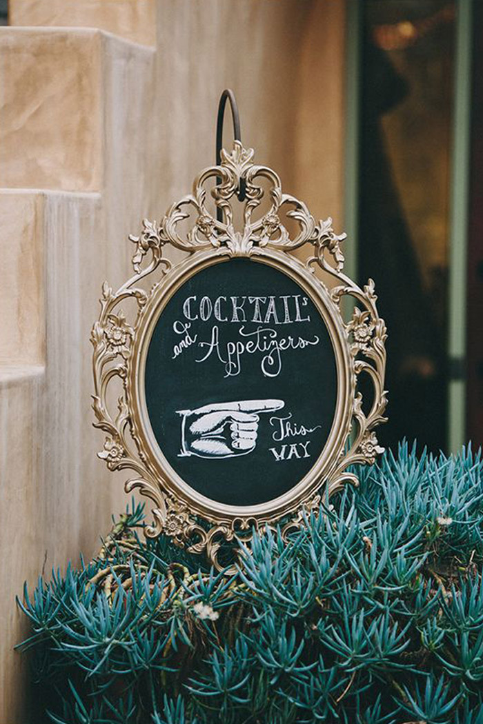 10 Clever IKEA Ideas And Hacks For Weddings - DIY Chalkboard Frame. Photo by Lauren Scotti.www.theweddingnotebook.com